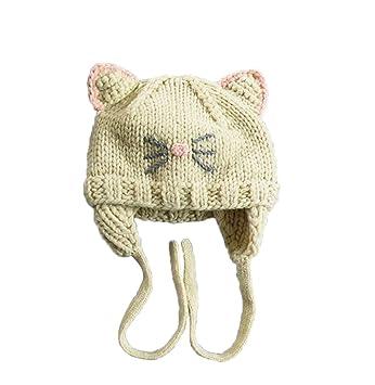 fa619695bf37 TININNA Mignon Mode Tricot Crochet Hiver Chaud Chapeau Bonnet Chat Cache  Oreille Beanie Capuchon Casquette Calotte