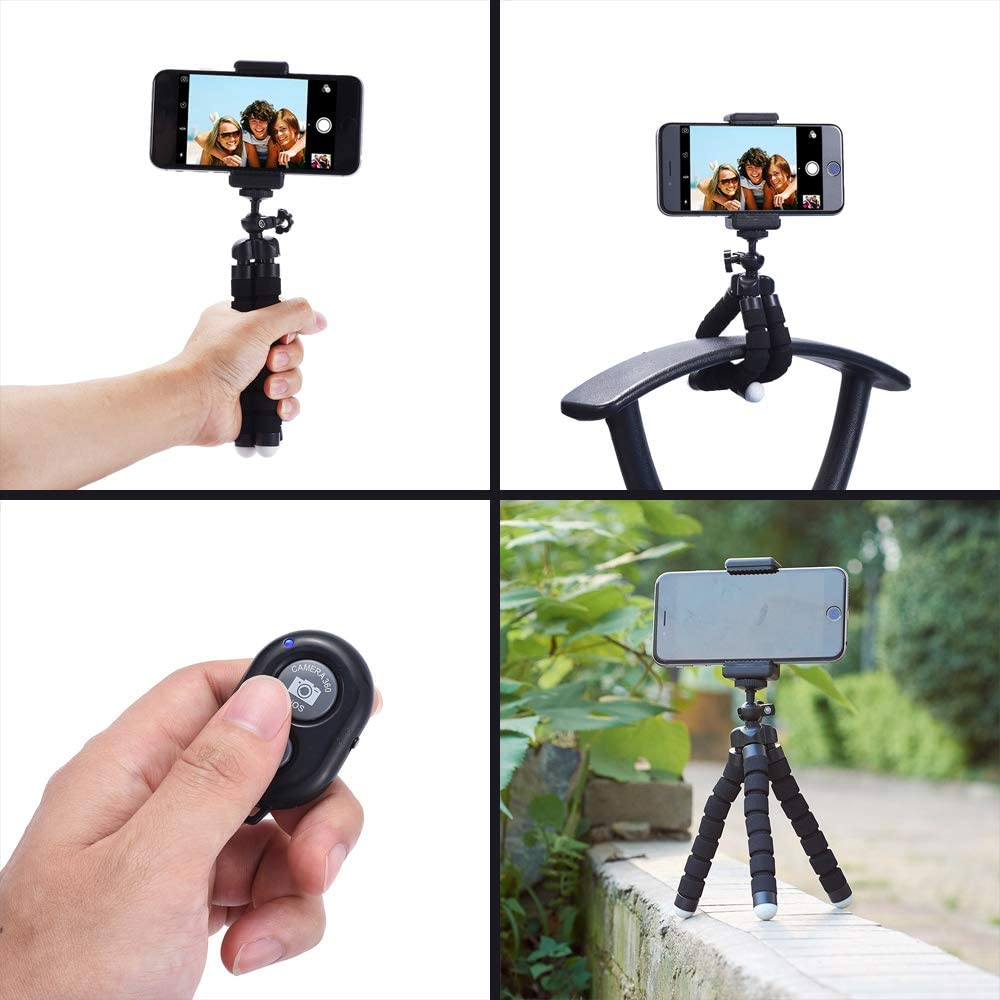 Blue ATMOMO Flexible Tripod Mount Mini Octopus Leg Stand with Remote Control Portable and Adjustable Tripod Stand for Camera Phone