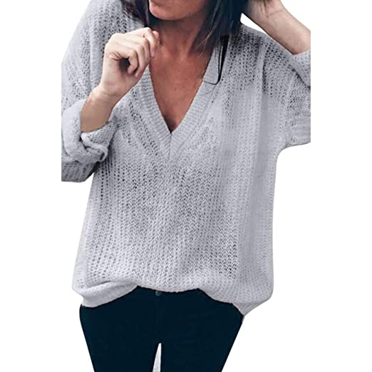 Limsea 2018! Women Solid Long Sleeve V-Neck Tops Loose Sweater Blouse (Gray 8fac2d88d