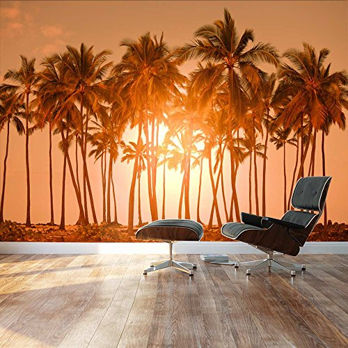 Large Wall Mural Beautiful Scenery Landscape Tropical Beach with Palm Trees at Sunset Vinyl Wallpaper Removable Decorating