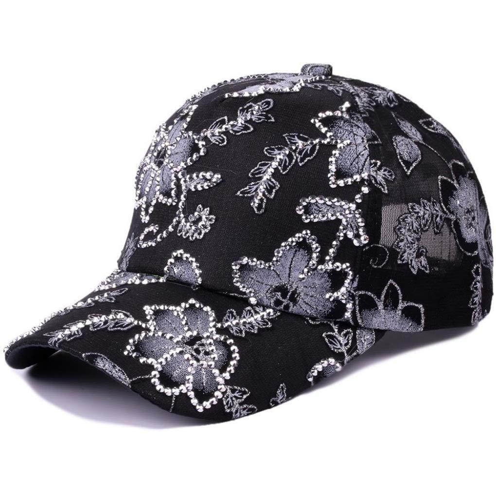 Female Lace Adjustable Baseball Cap Women Hat Summer Hip Hop Hat Cute Fashion Rhinestone Flower Cap