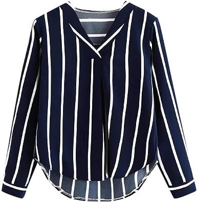 ღ YGbuy ♕ Camisa de Manga Larga a Rayas de Solapa Casual de Gran tamaño Camisa de Mujer Camisa de Fiesta con Dobladillo Irregular Camisa Hawaiana Camisa de Mujer Elegante suéter: Amazon.es: