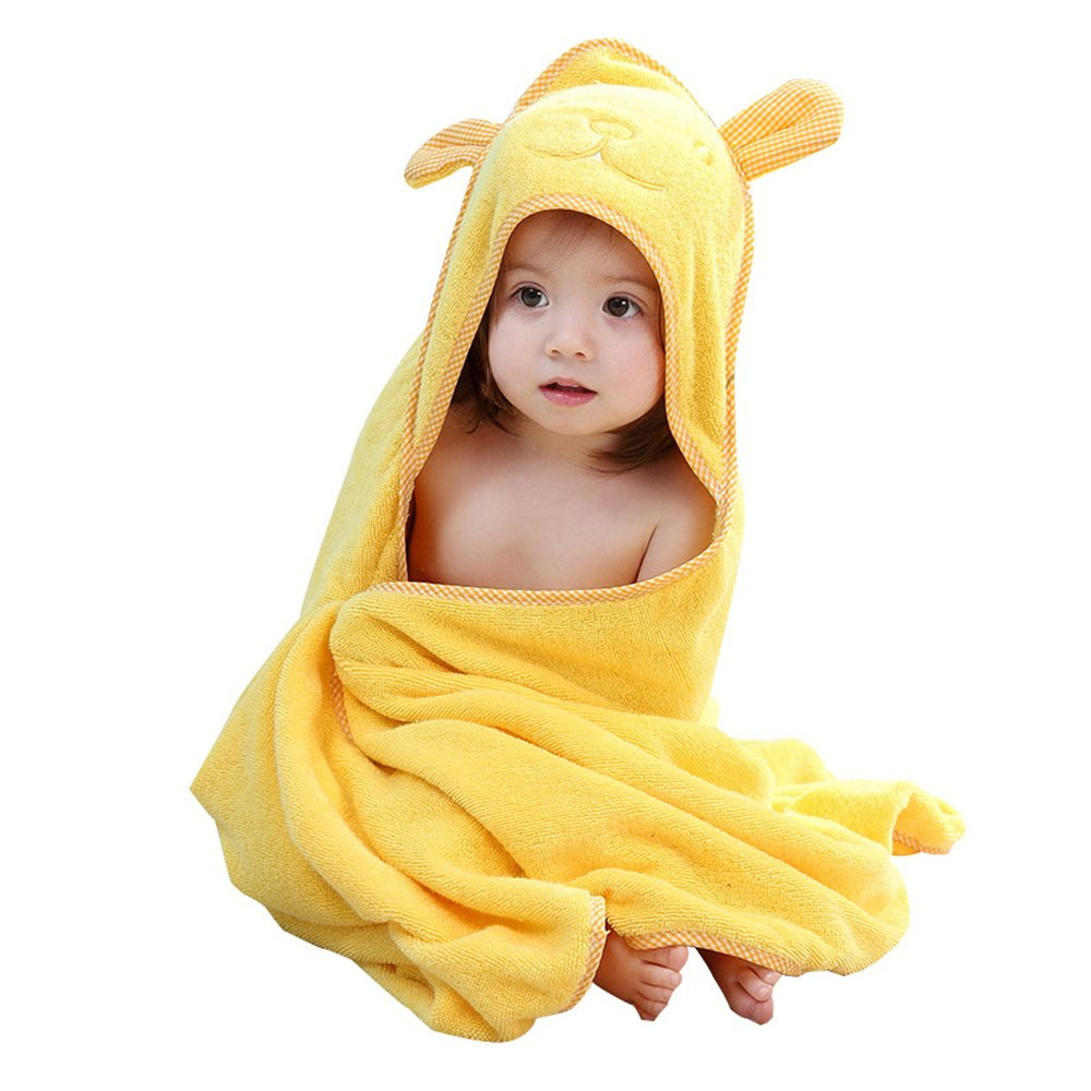 Golden Rule Toallas de bebé de alta calidad con capucha para niñas Toallas de bambú súper absorbentes ultra suaves para recién nacidos y niños(rosa)