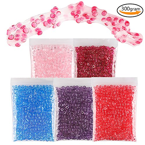 Teenitor Fishbowl Slime Beads, Beads in Slime, 100% Acrylic Fluffy Slime Beads Clear Slime Beads Plastic Slime Beads for Slime Making, DIY Craft, Decorative bead Arts, 300g 5 Pack