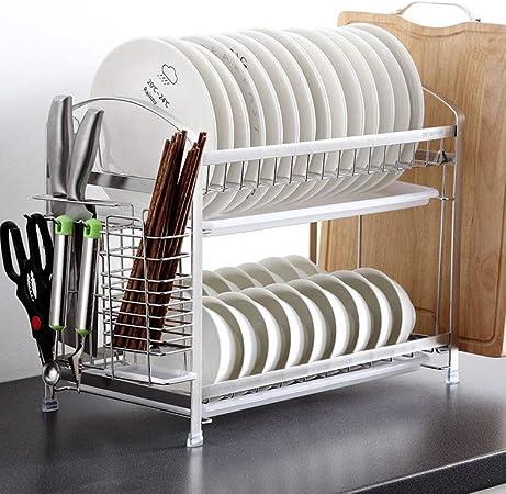 /Égouttoir /à vaisselle /à 2 /étages en acier inoxydable avec /égouttoir chrom/é pour vaisselle et couverts de cuisine