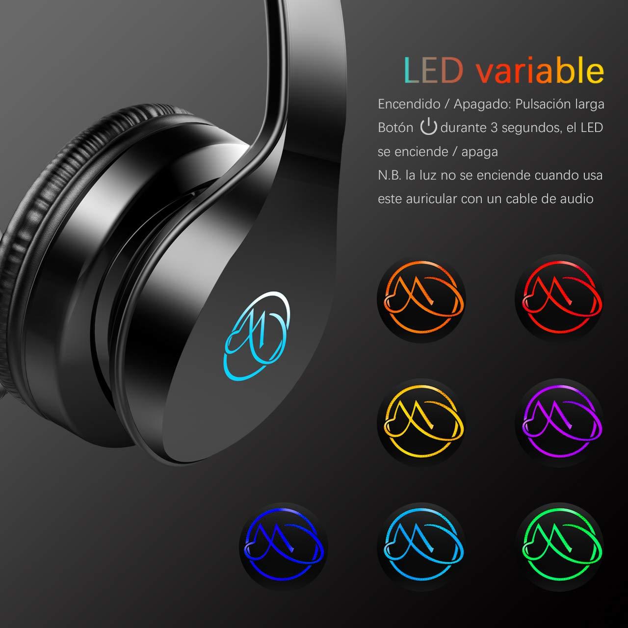Macrout Cascos Bluetooth Inalámbricos, Auriculares con Bluetooth Portatiles con Microfono Cascos Estéreo Plegable 7 LED Hi-Fi Almohadillas de Protección ...