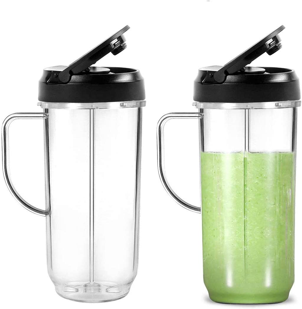 VANBOGOO 22 Ounce Tall Cups with Handle and FILP Top Travel Lid for 250W On-The-Go Mugs Blender Juicer Mixer [2 Pack]