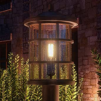 "Luxury Craftsman Outdoor Post Light, Medium Size: 17.25""H x 10""W, with Tudor Style Elements, Wrought Iron Design, Oil Rubbed Parisian Bronze Finish and Seeded Glass, UQL1047 by Urban Ambiance"