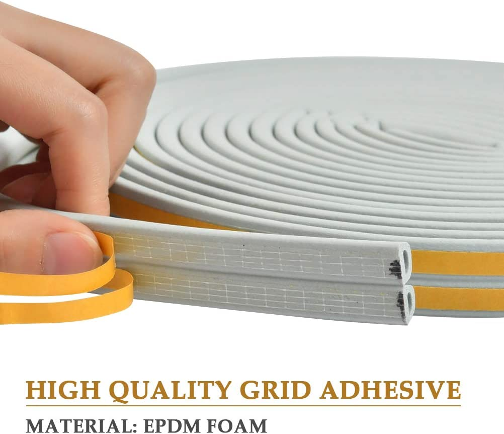 TIMESETL 2 Pack Door Weather Stripping Epdm D Type 4 Seals 78 Feet Self-Adhesive Foam Window Seal Strip for Soundproof Weatherstrip Dustproof Collision Avoidance Insulation Gaps Blocker