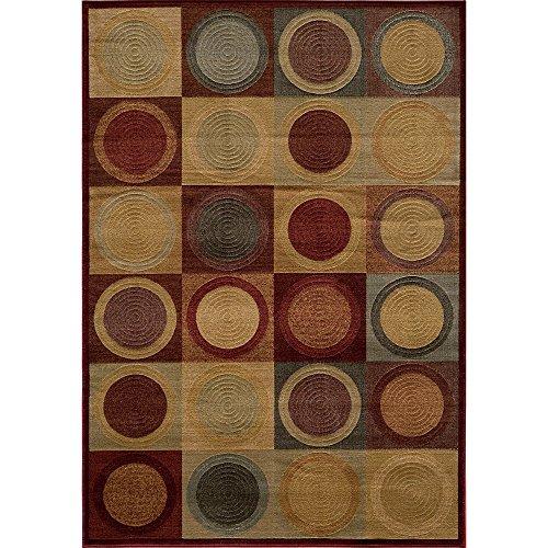 [Momeni Illusion Power-loomed Circles Blocks Red Rug (5'3 x 7'6)] (Illusion Power Loomed Circles)