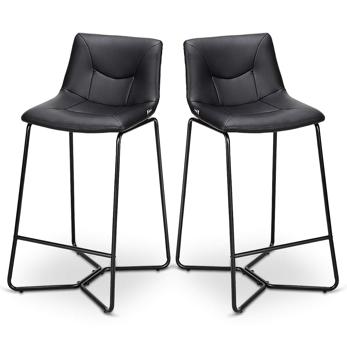 COSTWAY Bar Stools Set of 2 PU Leather Modern Contemporary Bar Height Armless Padded Seat Pub Bistro Kitchen Dining Side Chair Barstools with Metal Legs, Black