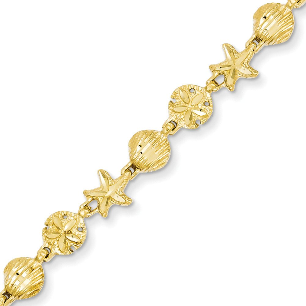 14k Gold Starfish Seashell & Sand Dollar Beach Theme Bracelet with Lobster Clasp (5.9mm) - Yellow-Gold, 7 in
