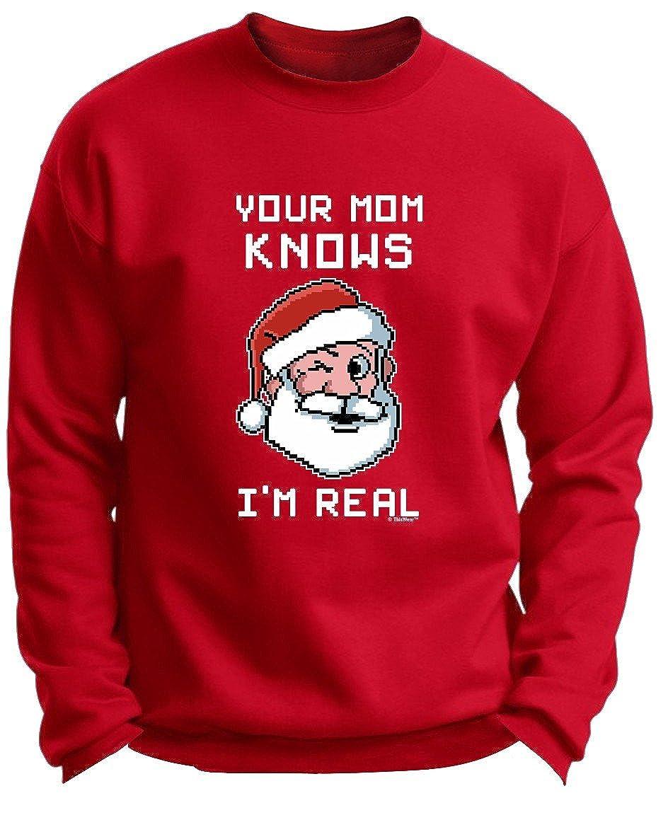 Your Mom Knows Im Real Winking Santa Christmas Premium Crewneck