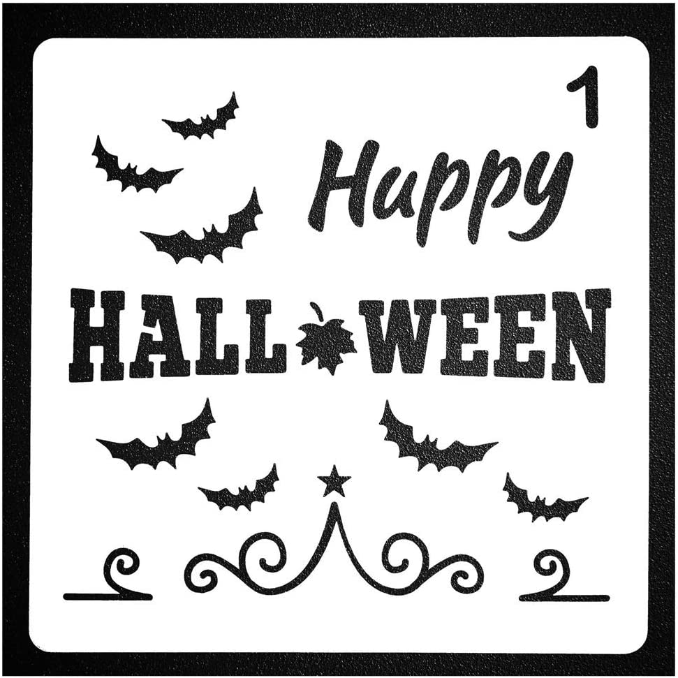 Koogel 28 PCS Halloween Stencils 5 Inch Halloween Templates Halloween Pumpkin Stencils Plastic Halloween Stencils for DIY Card Craft Art Drawing Painting Spraying Window Glass Wood Airbrush Walls Art