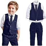 Jungen Gentleman Hochzeit Anzüge Shirts + Weste + Lange Hosen + Krawatte Kleidung By Dragon