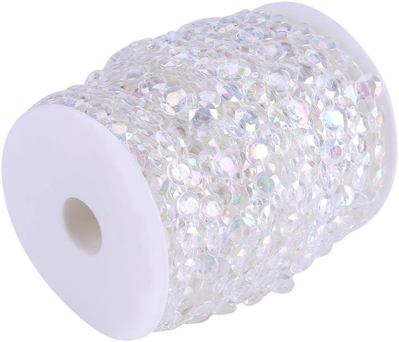 10mm Trasparente//AB Colore Cristallo Gemma Perlina Tenda Porta Matrimonio Decorazioni Festa di Compleanno Artigianato Fai da Te 98ft Crystal-Like Acrilico Perline Fili AB Color 30m