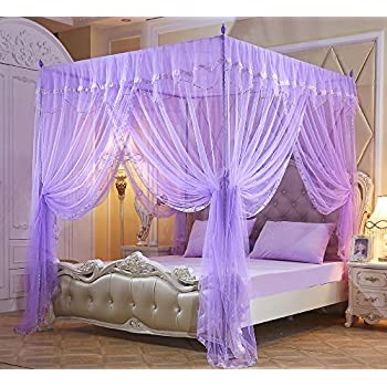 Nattey 4 corners bow princess bed curtain - Canopy bed ideas for adults ...