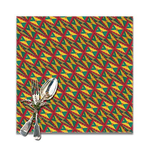 - Grenada Flag 3D Art Pattern Placemats for Dinning Table Set of 6PC-Dining Table Washable Polyester Placemat, Heat Resistant, Non-Slip Design, Washable and Easy to Clean Table Mats