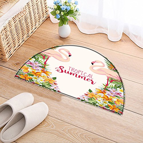 NALAHOMEQQ Half-round Rubber Back Coir Doormat Flamingo Bird Background. Retro Pattern. Floral. Vector. Tropical Graphic Design. Template Brochure Living Room(31.5x19.7 INCH) (Room Living Design Tropical)