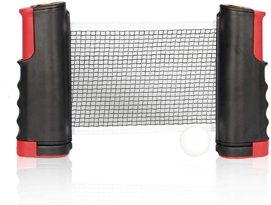 Tang Red de Tenis de Mesa retráctil, Accesorio de Ping-Pong, con Soporte Ajustable, Abrazaderas Extensibles, de Malla, 190 cm, Soporte de Rejilla para Interior y Exterior
