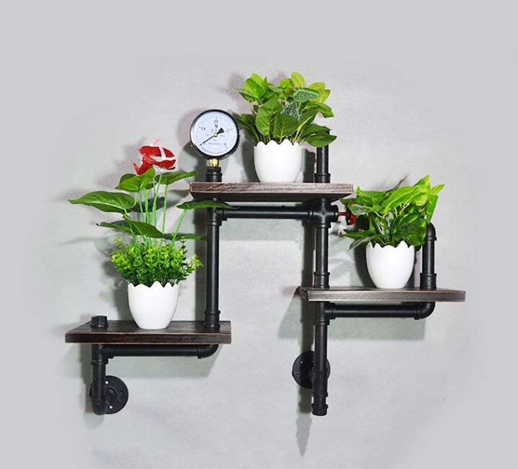 Decorative Accessories Wall Mounted Shelves LOFT Retro Iron Water Pipe Bookshelves Potted Display Stand Living Room Background Wall Decoration Solid Wood Corner Shelves Floating Shelves