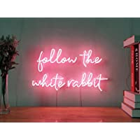 Follow The White Rabbit Real Glass Neon Sign For Bedroom Garage Bar Man Cave Room Home Decor Personalised Handmade Artwork Visual Art Dimmable Wall Lighting Includes Dimmer