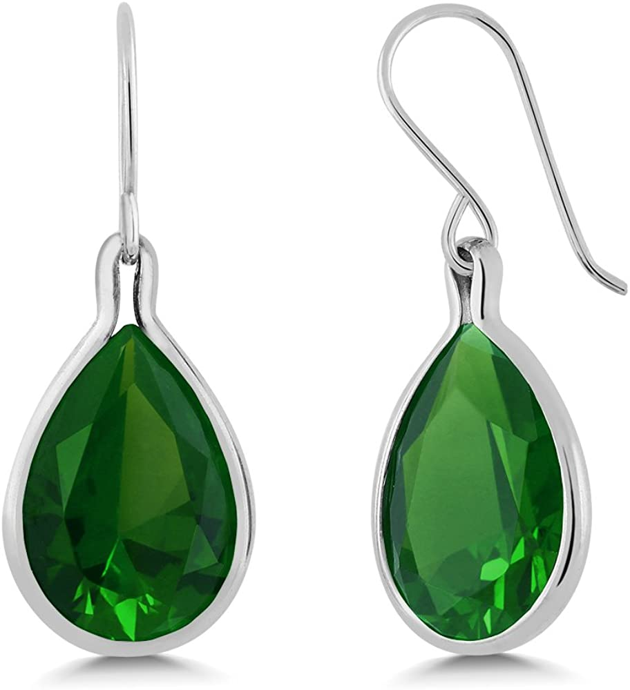 Gem Stone King Sterling Silver Green Simulated Emerald Dangle Earrings 16.50 cttw Pear Shape 16X12MM