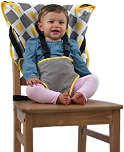 Cozy Cover Easy Seat Portable High Chair (Charcoal/Yellow) - Quick, Easy, Convenient Cloth Travel High Chair Fits in Your Hand Bag for a Happier, Safer Infant/Toddler