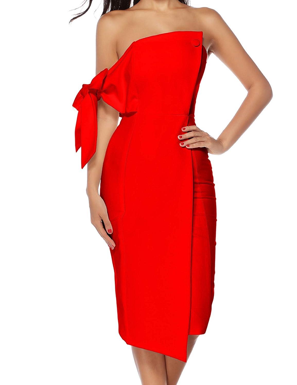 Womens Off Shoulder Fashion Dress Bow Midi Bodycon Cocktail Dresses