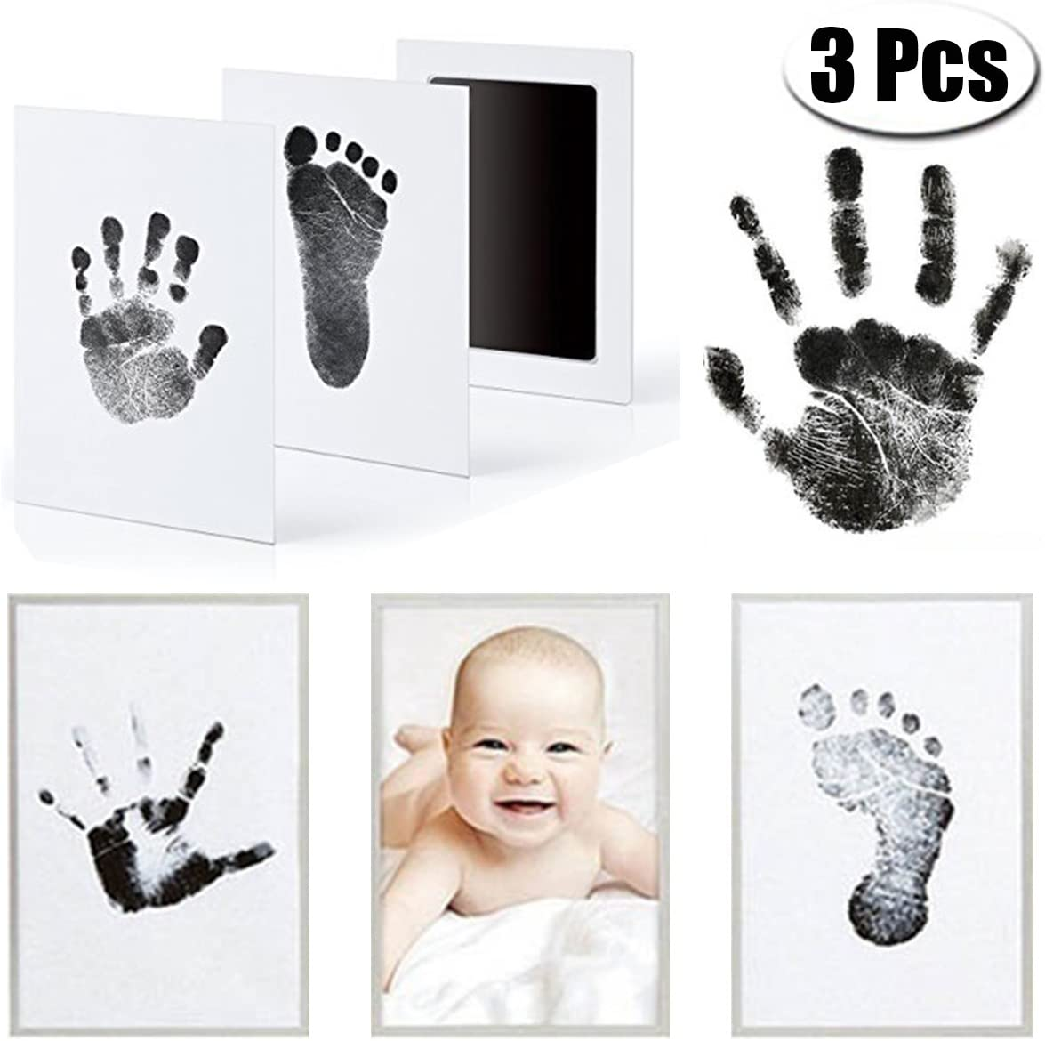 Baby Handprint and Footprint Kit,3 Pack No-Mess Ink Baby Footprint /& Handprint Ink Pad with 4 Extra Imprint Cards for Newborn 0-6 Months Infant Shower Gift Black + Pink