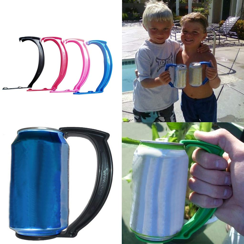 Highpot Instant Beer Can Grip Handle Can Grip for Beer or Soda Cans Instantly Turns Your Can Into a Mug Handle (Red)
