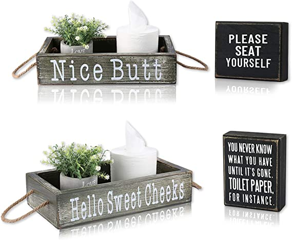Veichin Nice Butt Bathroom Decor Box 2 Sides with Funny Sayings Toilet Paper Holder for Bathroom Dector Funny Farmhouse Bathroom Decor Rustic Bathroom Decor+1 Farmhouse Wooden Box Sign Decoration