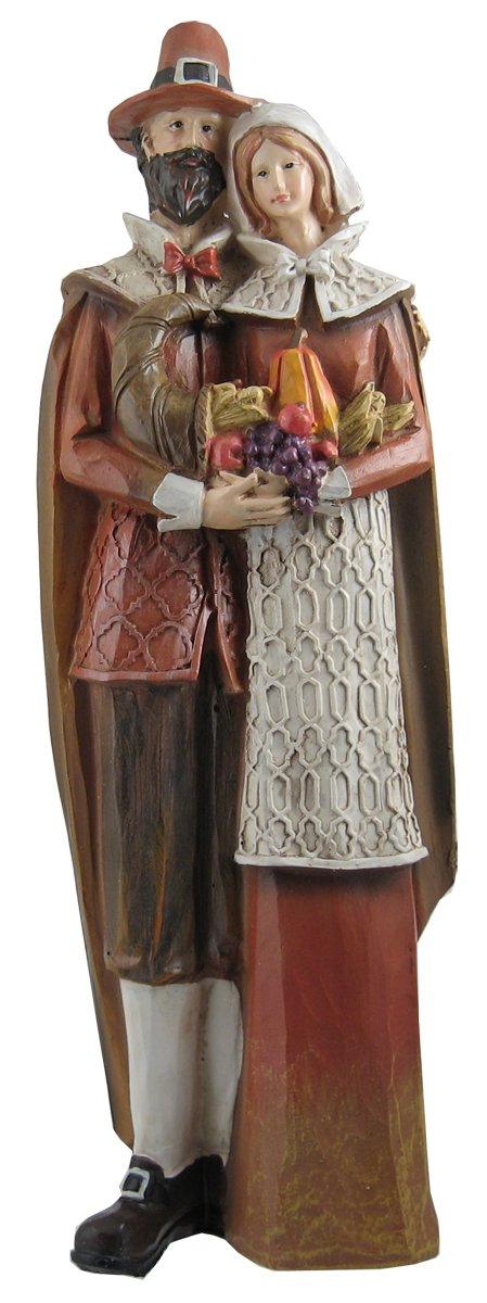 Pilgrim Couple 14 x 5 Inch Transpac Resin Stone Figurine
