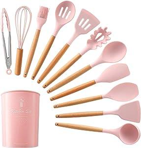 12PCS Silicone Cooking Utensils Kitchen Utensil Set Silicone Kitchen Utensils Set, Silicone Utensil Set Spatula Set, Silicone Utensils Cooking Utensil Set Silicone Spatula Turner Set (Pink)