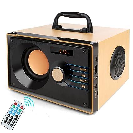 Altavoz portátil Bluetooth de madera de 10 W potente estéreo inalámbrico subwoofer altavoces reproductor de música ...