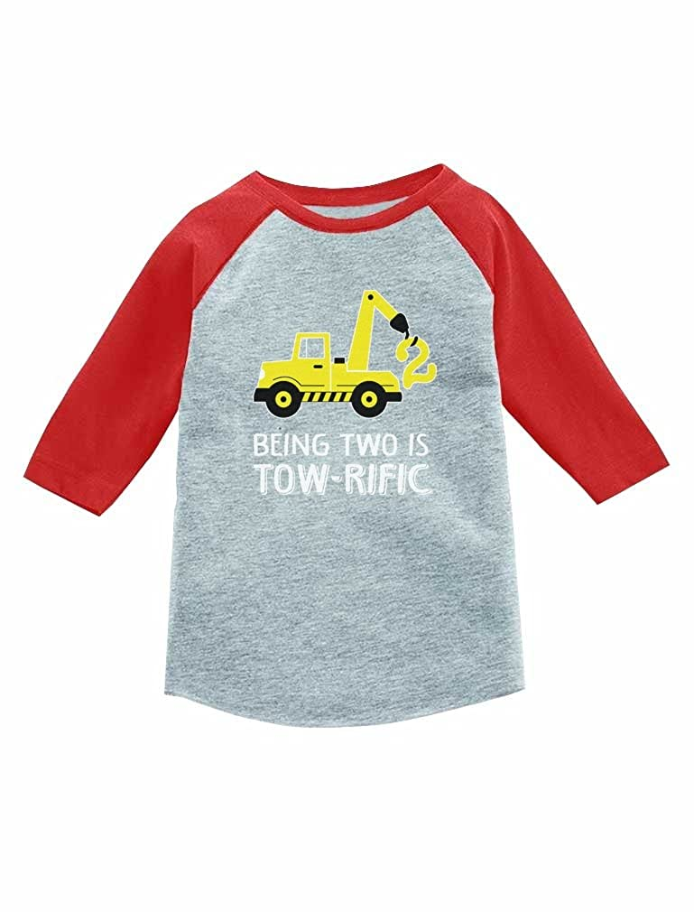 2nd Birthday Tractor Construction Party 3 4 Sleeve Baseball Jersey Toddler Shirt GZhP0ltgm8