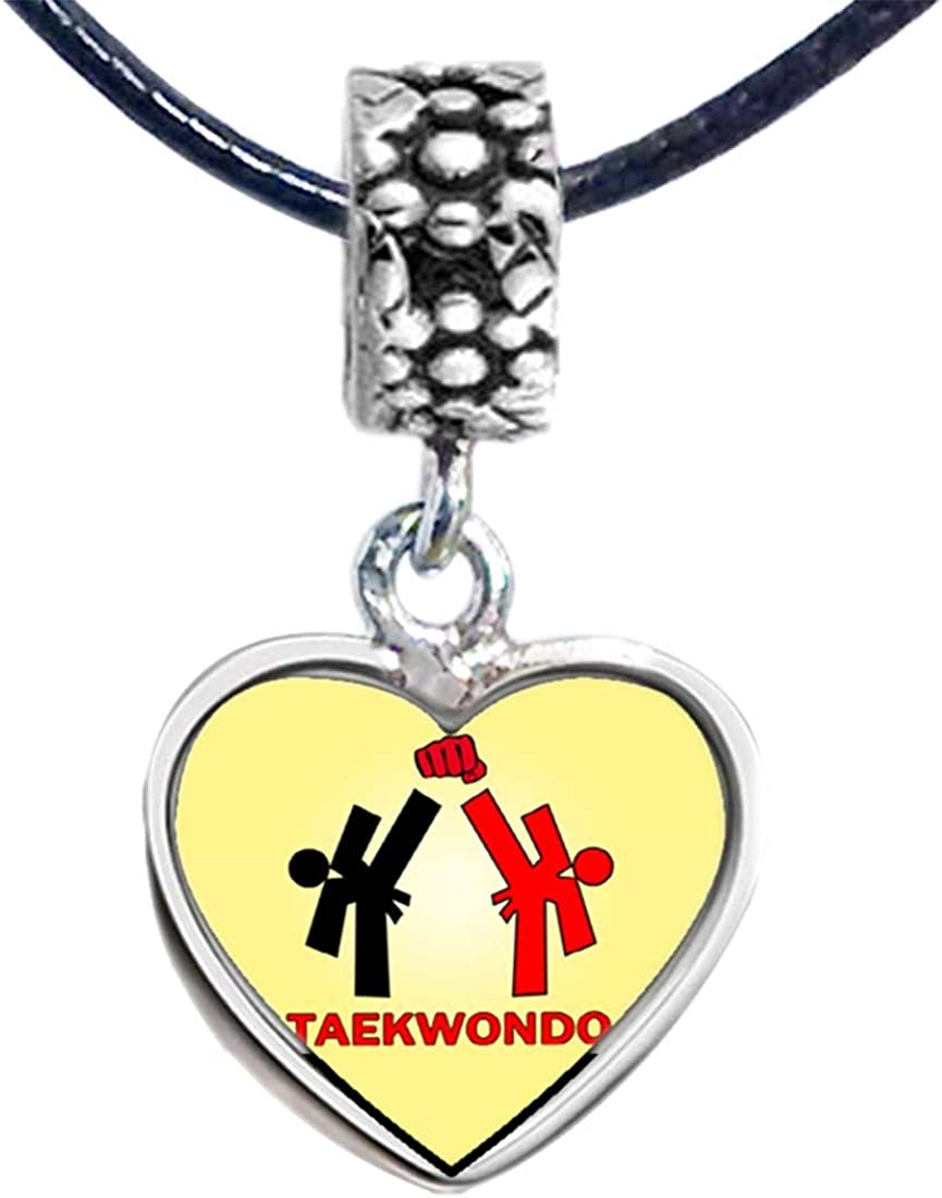 GiftJewelryShop Silver Plated Olympics Taekwondo Cartoon Photo Heart Bead Charm Bracelets
