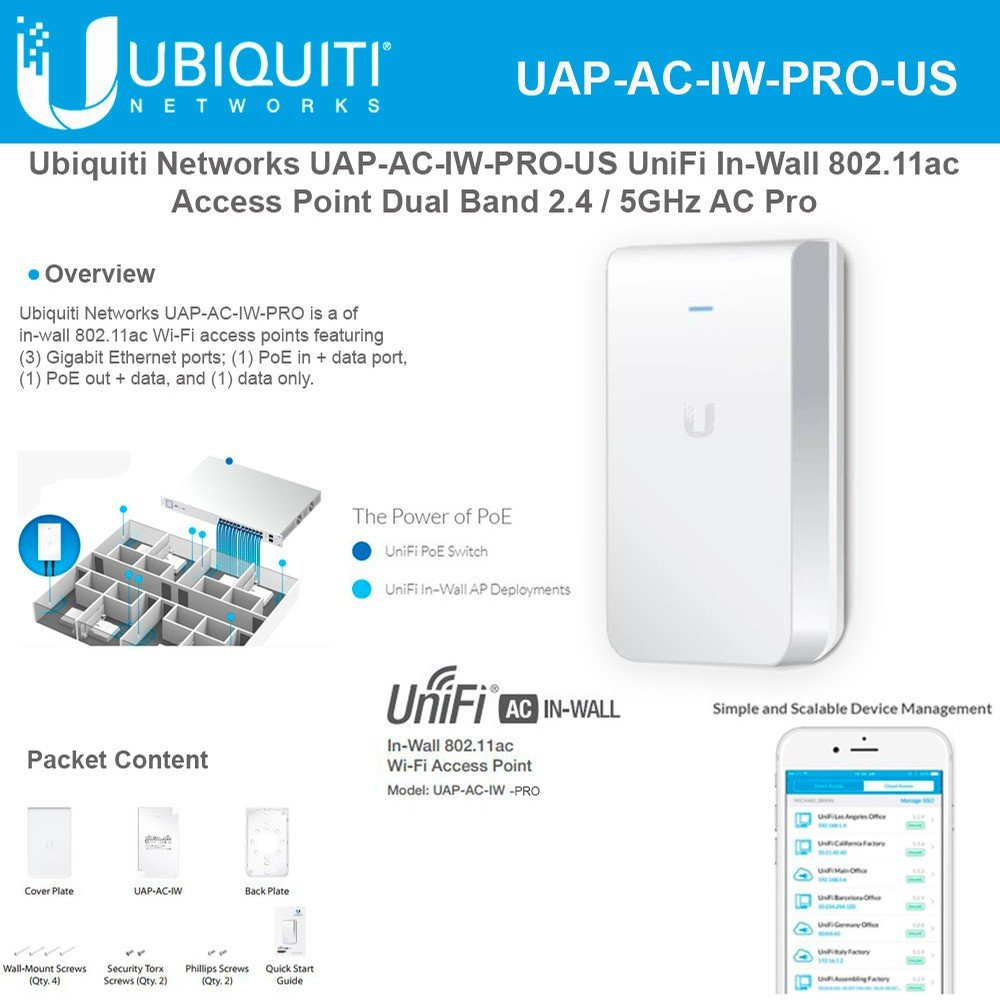 Access Point UniFi In-Wall Dual Band UAP-AC-IW-PRO-US 802.11ac Dual Band Access Point 2 / 5GHz by UBNT Systems