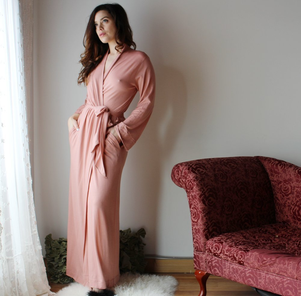 womens merino wool long robe with pockets