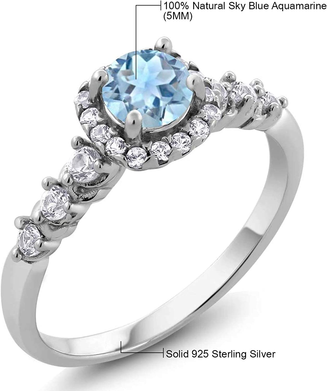 Ladies Sterling 925 Solid Fine Silver White Sapphire Solitaire with Accents Ring