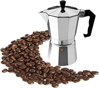 Stovetop Coffee Maker Aluminum Italian Moka Pot Espresso Cafetera for Gas or Electric Stove Top 3-Cup