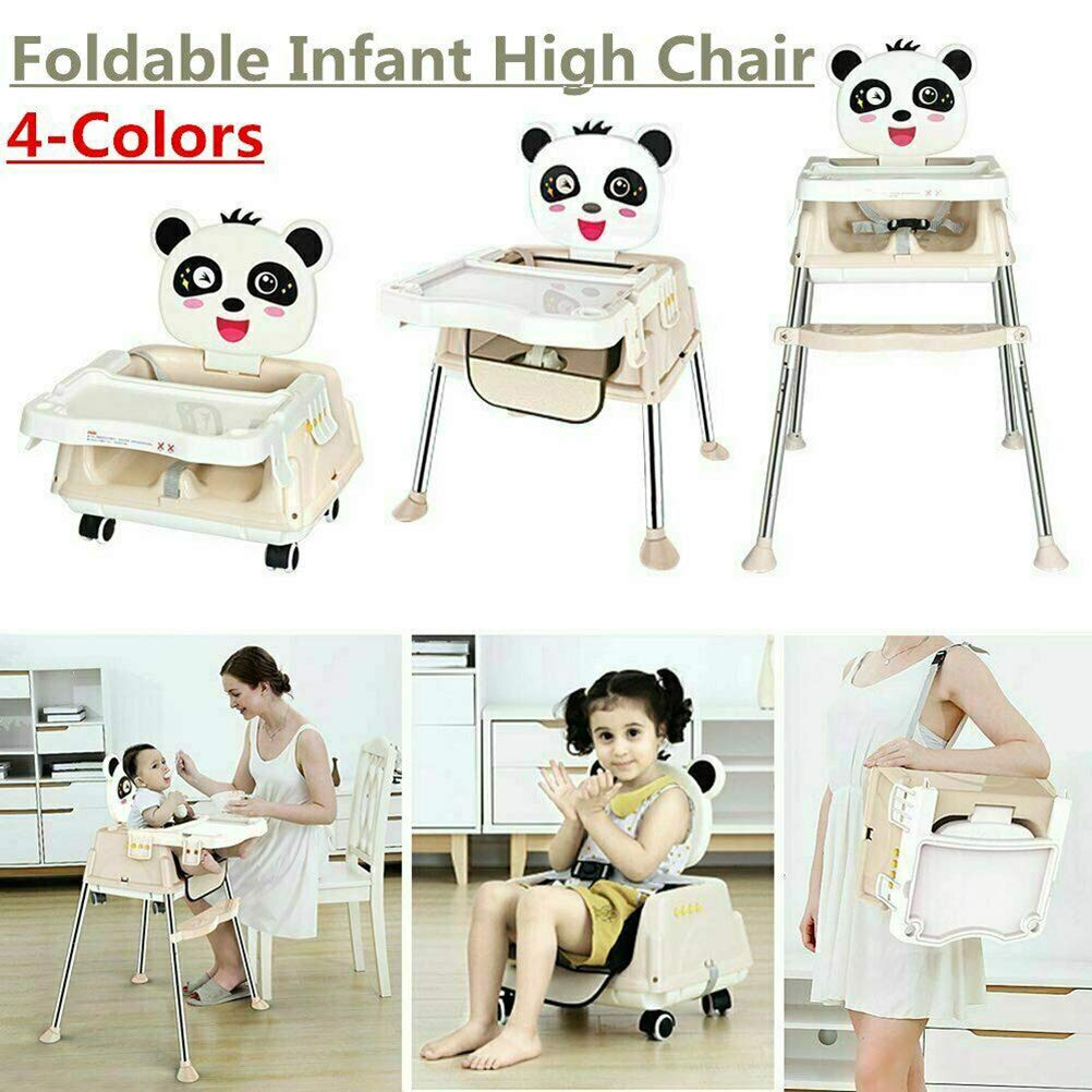 Khaki Baby Highchair with Tray Adjustable /& Safety (UK Stock//Multicolor) Fnova 5 in1 Folding Baby High Chair Feeding