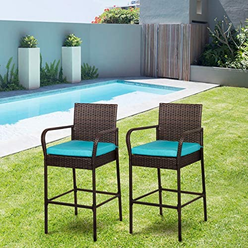 Editors' Choice: Outdoor Bar Chairs Set of 4 Patio Wicker Bar Stools Bar Height Furniture