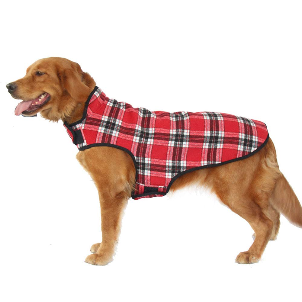Red 4XL Red 4XL Pet Warm Jacket Dog Jacket Waterproof Coat Windproof Pet Vest Warm Puppy Clothes Reversible British Style Plaid Winter Coats Cold Weather Jackets for Small Middle Large Size Dogs