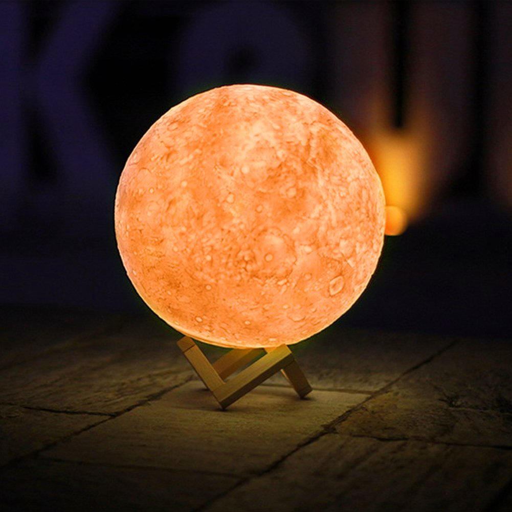 Amazon.com: Full Moon Lamp 3D LED Night Modern Floor Lamp Dimmable Touch Control Brigntness USB Charging White/Warm Light luna moon lamp With Stand (13 cm): ...