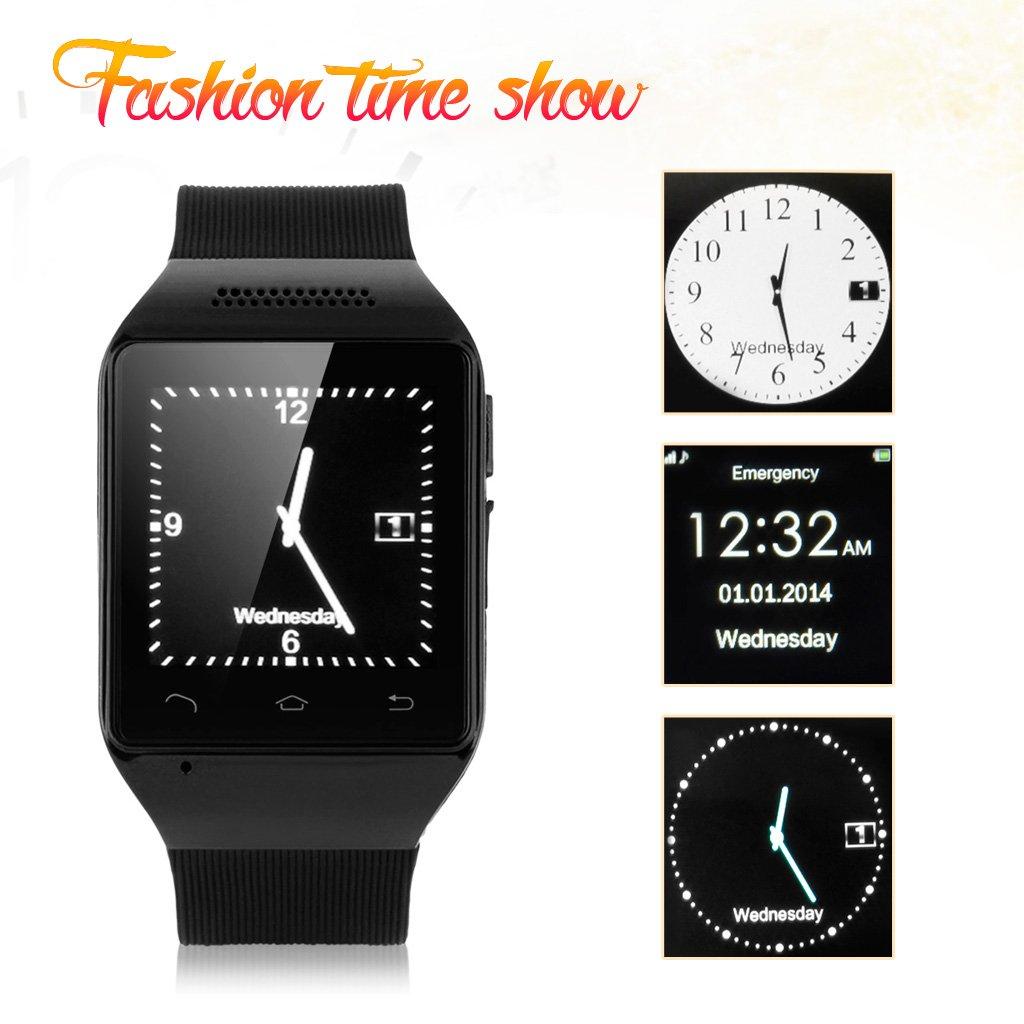 Excelvan KP63 Bluetooth Reloj Smartwatch (Pantalla 1.54 pulgadas ,GSM Movil Libre, FM Radio, Tarjeta TF SIM, Multilenguje) - Negro