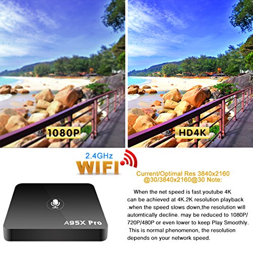 YAGALA A95X Pro Android TV BOX with Voice Control Android 7 1 2GB DDR3 16GB  eMMC Wifi HDMI Ethernet HD Player