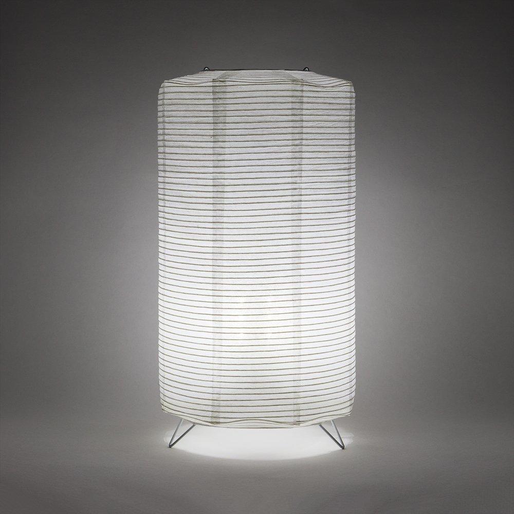 Fantado PaperLanternStore.com Cylinder Fine Line Cool White LED Lantern Table Lamp Light KIT w/Remote, Omni360 Battery Powered