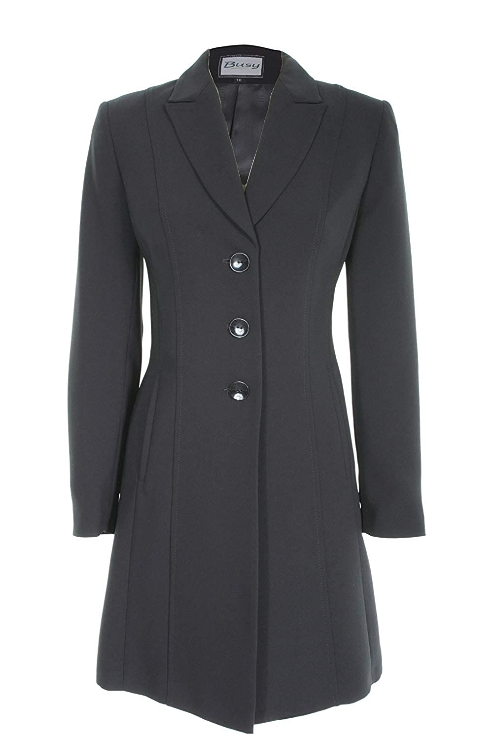 Busy Clothing Womens Black Long Suit Jacket