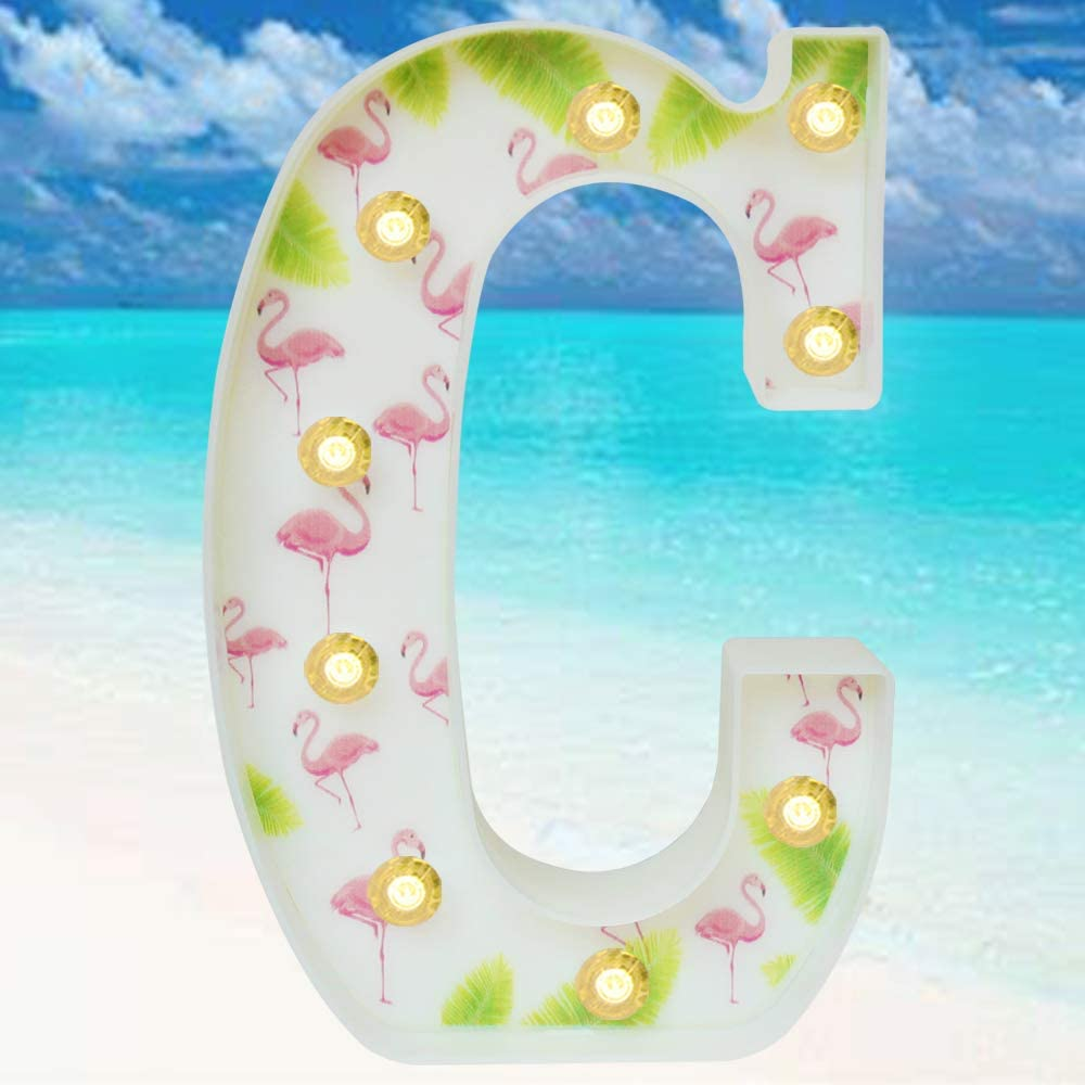 Pooqla Marquee Letters Tropical Luau Party Supplies Flamingos Palm Trees Painted LED Letter Sign Light for Hawaiian Party Decoration Birthday Bedroom Wall Decor Table Centerpieces C